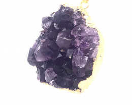 Amethyst Raw  Set - High Grade Druzy Pendant   BR 2118
