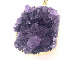 Amethyst Raw  Set - High Grade Druzy Pendant   BR 756