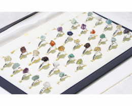 x30 set Rough Raw Colorful Gemstone Silver Plated Rings BR 769