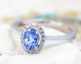 Natural  Gem Tanzanite in Silver  Princess Ring F16