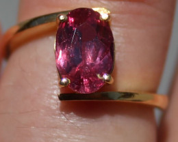 GIA Certified Pink Sapphire 2.07ct Solid 22K Yellow Gold Solitaire Ring,Unt