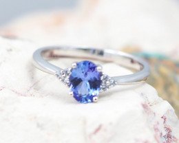 Natural Tanzanite in Silver Princess Ring F17