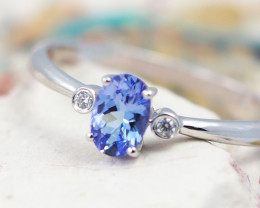 Natural  Gem Tanzanite in Silver Princess Ring F20