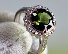 19.10 Cts Unheated & Natural ~ Green Tourmaline Silver Ring