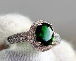 16.60 Cts Unheated & Natural ~ Green Tourmaline Silver Ring