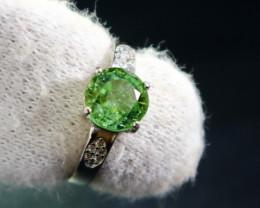 10.50 Cts Unheated & Natural ~ Green Tourmaline Silver Ring