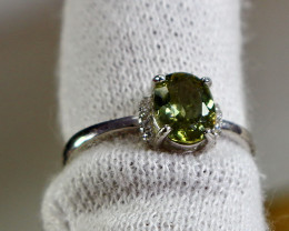 9.30 Cts Unheated & Natural ~ Green Tourmaline Silver Ring