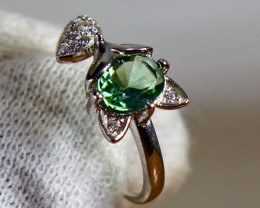 12.40 Cts Unheated & Natural ~ Green Tourmaline Silver Ring