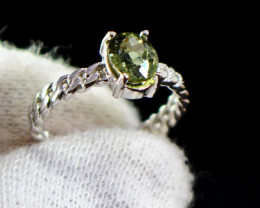 12.60 Cts Unheated & Natural ~ Green Tourmaline Silver Ring
