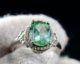 15.30 Cts Unheated & Natural ~ Green Tourmaline Silver Ring