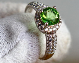 14.90 Cts Unheated & Natural ~ Green Tourmaline Silver Ring