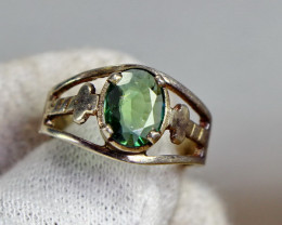 27.00 Cts Unheated & Natural ~ Green Tourmaline Silver Ring