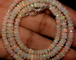 44 Crt Natural Ethiopian Welo Faceted Opal Beads Necklace 67