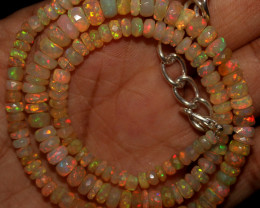 51 Crt Natural Ethiopian Welo Faceted Opal Beads Necklace 62