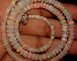 49 Crt Natural Ethiopian Welo Faceted Opal Beads Necklace 70