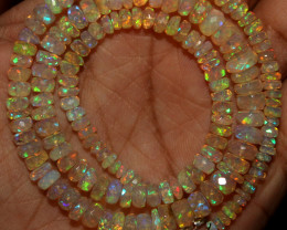 54 Crt Natural Ethiopian Welo Faceted Opal Beads Necklace 63