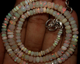 43 Crt Natural Ethiopian Welo Faceted Opal Beads Necklace 50
