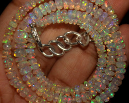 43 Crt Natural Ethiopian Welo Faceted Opal Beads Necklace 57