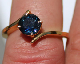 GIA Certified Blue Sapphire 1.95ct Solid 18K Yellow Gold Solitaire Ring,Unt