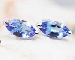 Natural Tanzanite in Gold 10K Earrings F10