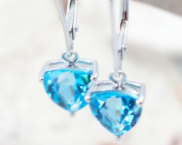 14 KW White Gold BLUE TOPAZ Earrings - F27