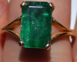 GIA Certified Columbian Emerald 5.52ct Solid 22K Yellow Gold Solitaire Ring