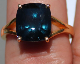 GIA Certified Blue Spinel 5.93ct Solid 22K Yellow Gold Solitaire Ring Untre