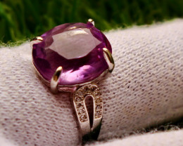 23.00 Cts Unheated & Natural ~ Purple Amethyst Silver Ring