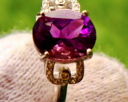 13.80 Cts Unheated & Natural ~ Purple Amethyst Silver Ring