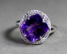 18.80 Cts Unheated & Natural ~ Purple Amethyst Silver Ring