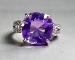 23.50 Cts Unheated & Natural ~ Purple Amethyst Silver Ring