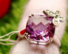 26.00 Cts Unheated & Natural ~ Purple Amethyst Silver Ring
