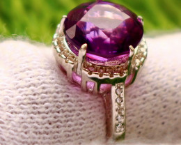20.40 Cts Unheated & Natural ~ Purple Amethyst Silver Ring