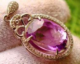 29.50 Cts Unheated & Natural ~ Purple Amethyst Silver Pendant