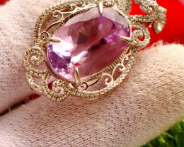 64.00 Cts Unheated & Natural ~ Purple Amethyst Silver Pendant