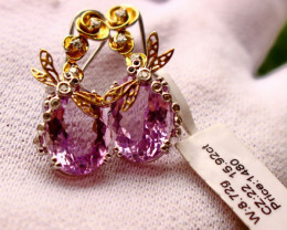 45.30 Cts Unheated & Natural ~ Purple Amethyst Silver Earrings