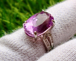 24.20 Cts Unheated & Natural ~ Purple Amethyst Silver Ring