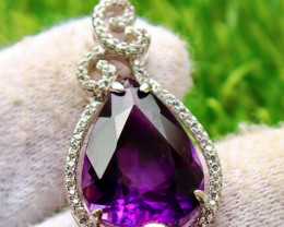 33.00 Cts Unheated & Natural ~ Purple Amethyst Silver Pendant