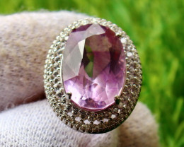 31.80 Cts Unheated & Natural ~ Purple Amethyst Silver Ring