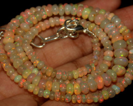 54 Crt Natural Ethiopian Welo Opal Beads Necklace 791