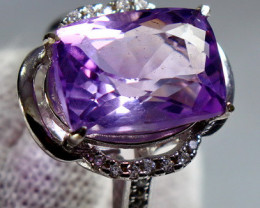 26.20 Cts Unheated & Natural ~ Purple Amethyst Silver Ring