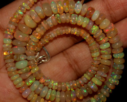 49 Crt Natural Ethiopian Welo Opal Beads Necklace 771