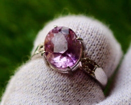 15.00 Cts Unheated & Natural ~ Purple Amethyst Silver Ring