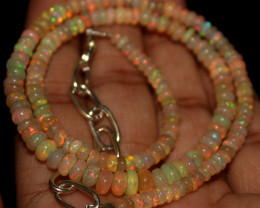 31 Crt Natural Ethiopian Welo Opal Beads Necklace 756