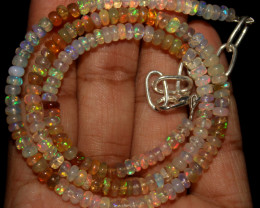 38 Crt Natural Ethiopian Welo Opal Beads Necklace 757