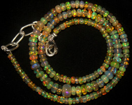 42 Crt Natural Ethiopian Welo Opal Beads Necklace 750