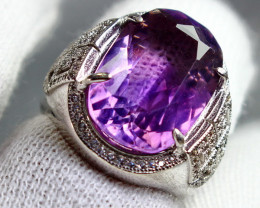 53.20 Cts Unheated & Natural ~ Purple Amethyst Silver Ring