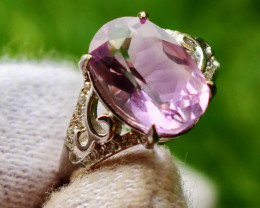20.00 Cts Unheated & Natural ~ Purple Amethyst Silver Ring