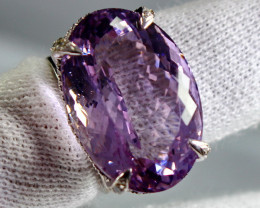 67.90 Cts Unheated & Natural ~ Purple Amethyst Silver Ring