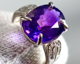 22.80 Cts Unheated & Natural ~ Purple Amethyst Silver Ring